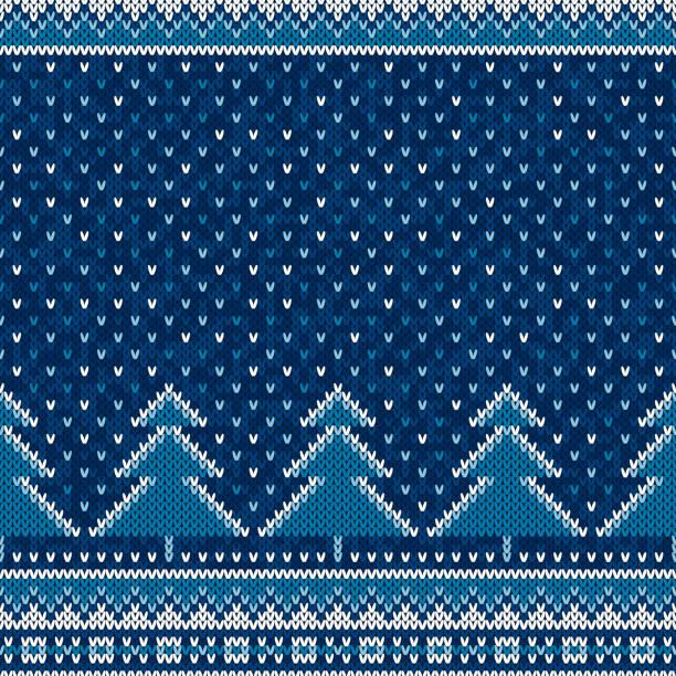 冬季假期無縫編織圖案與聖誕樹。針織毛衫圖案設計或十字繡繡方案 - 針織品 個照片及圖片檔