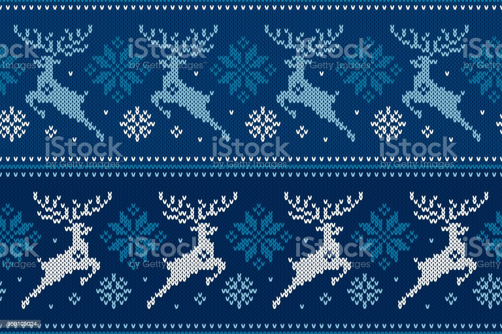 Winter Holiday Seamless Knitting Pattern with Christmas Reindeer and Snowflakes. Wool Knitted Sweater Design stock photo
