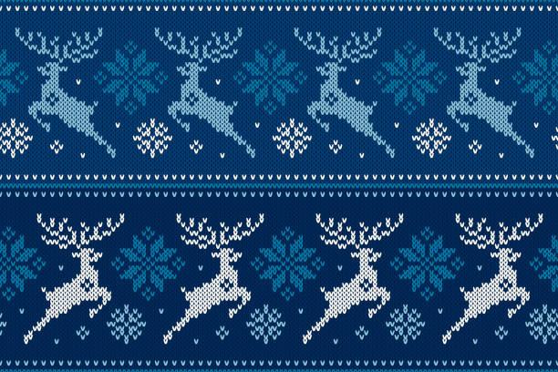 冬季節日的無縫針織圖案與聖誕馴鹿和雪花。羊毛針織毛衣設計 - 針織品 個照片及圖片檔