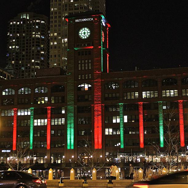 Winter Holiday Season Christmas lighting of Reid Murdoch Building, Chicago stock photo