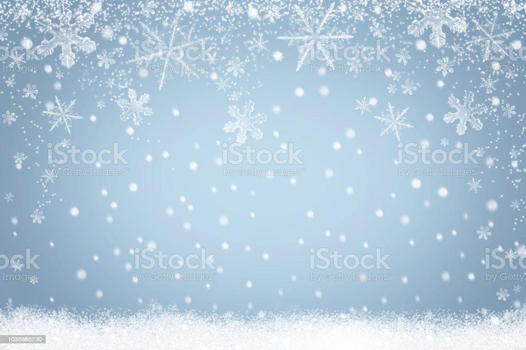 Wintervakantie sneeuw achtergrond met sneeuwvlokken voor ontwerp foto
