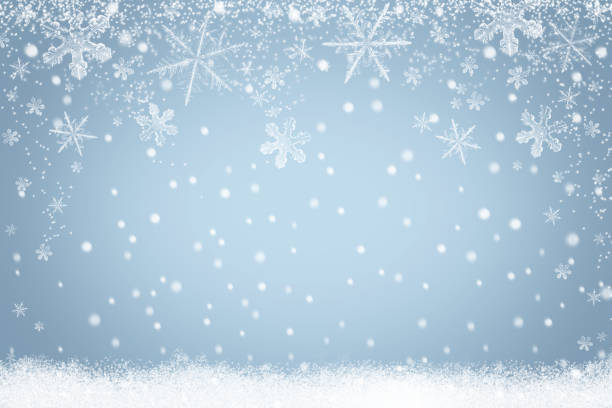 Winter holiday snow background with snowflakes for design stock photo