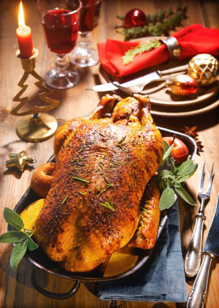 Winter Holiday table served for Christmas dinner stock photo