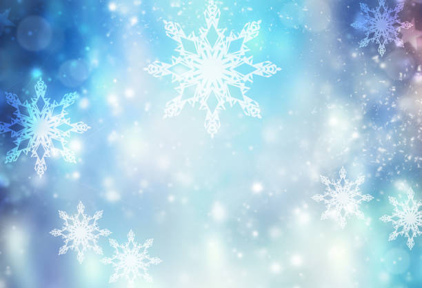 winter holiday xmas blue illustration background. - snowflake stock photos and pictures