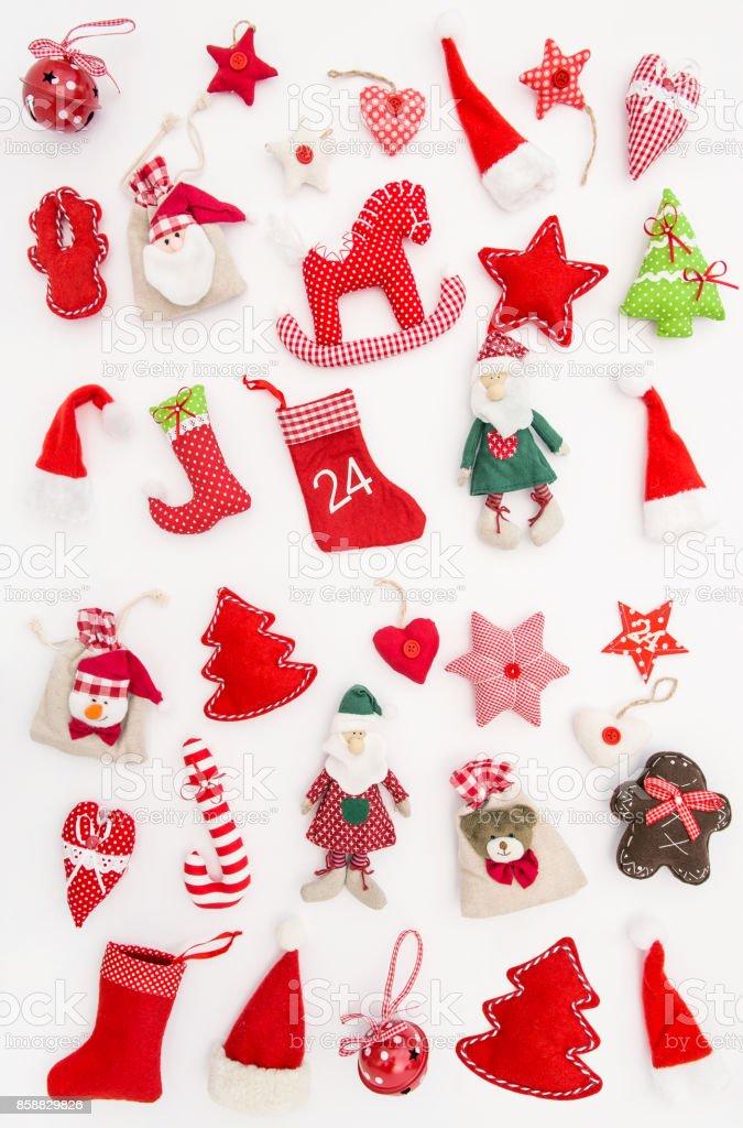 Winter Holidays Christmas decorations Flat lay stock photo