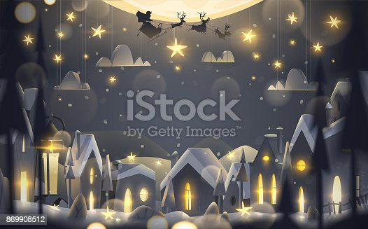 istock Winter holidays greeting card in cartoon style. 869908512