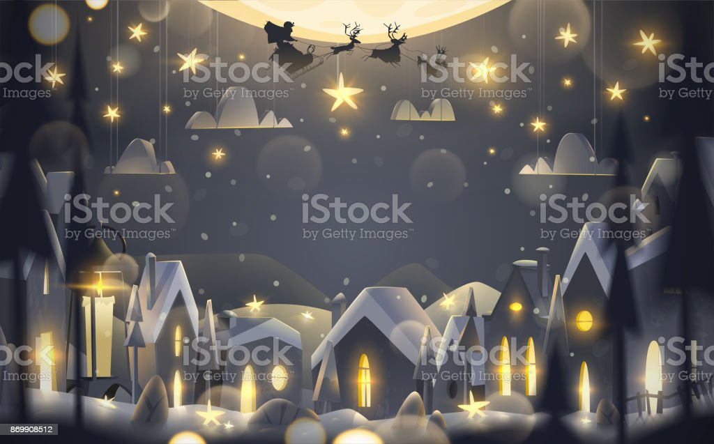 Winter holidays greeting card in cartoon style. stock photo