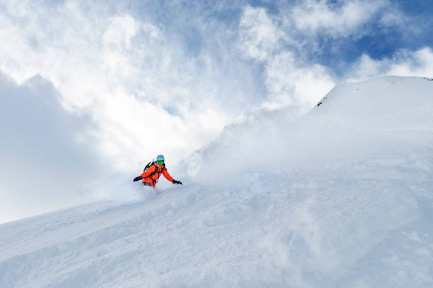 Winter holidays in ski resort stock photo