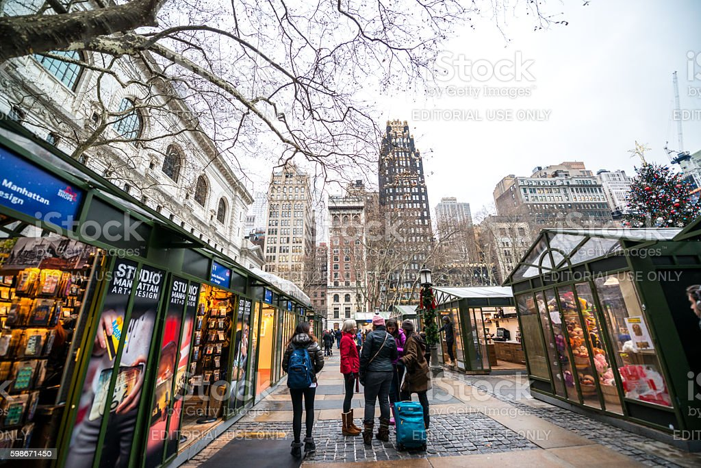 Bryant Park Christmas Market.Winter Holidays Market In Bryant Park Nyc Usa Stock Photo