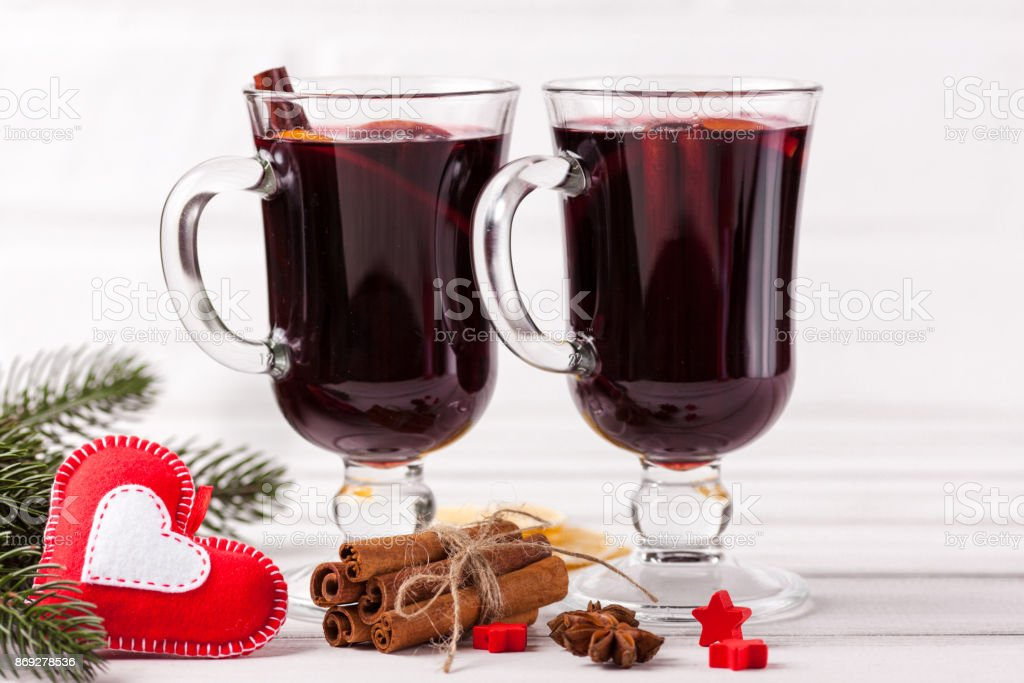 Winter Horizontal Mulled Wine Banner Glasses With Hot Red Wine And Spices Tree Felt Decorations On Wooden Background Stock Photo Download Image Now Istock