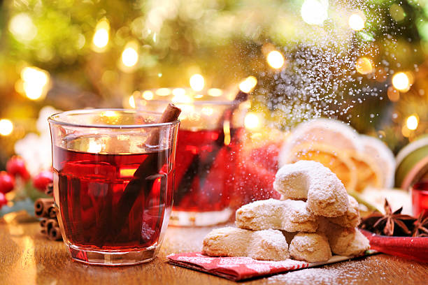 Winter hot drink and christmas cookies stock photo