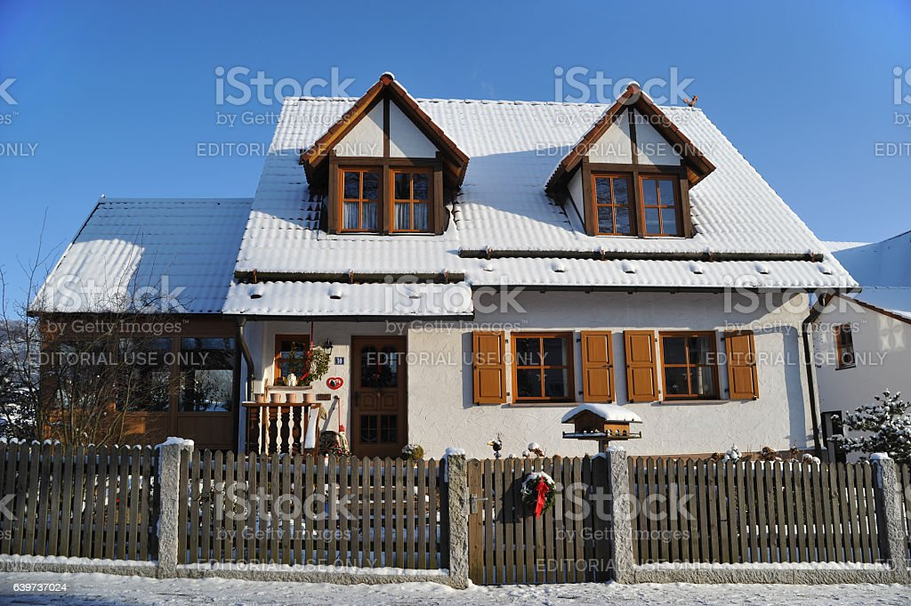winter house cosy litlle home stock photo
