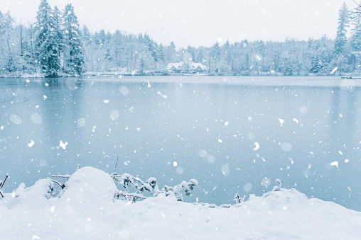 Winter house in snowy forest on lake.