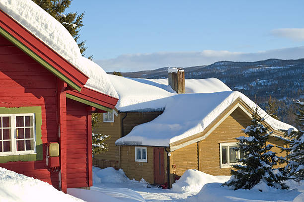 winter house two norwegian houses at winter. russian dacha stock pictures, royalty-free photos & images