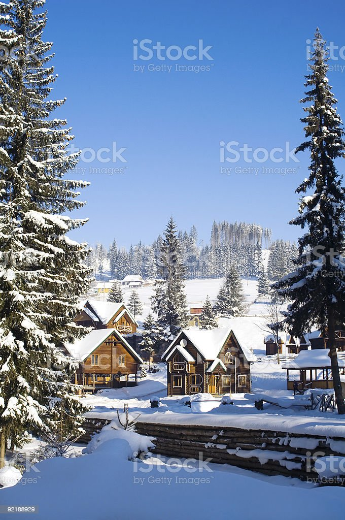 Winter houses royalty-free stock photo