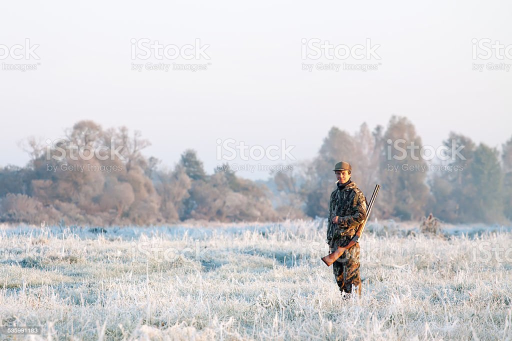 Winter hunting stock photo