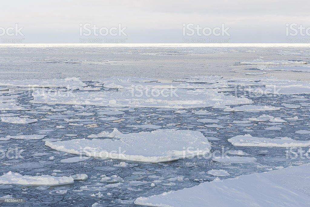 Winter ice background in Okhotsk Sea stock photo