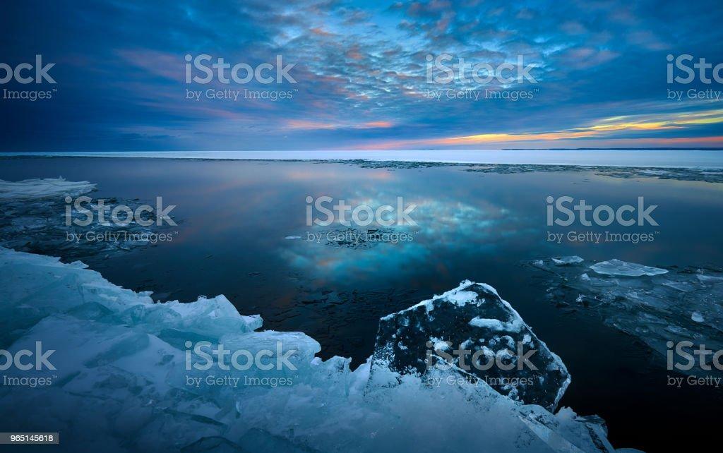 Winter Ice Pancakes in Duluth Minnesota zbiór zdjęć royalty-free