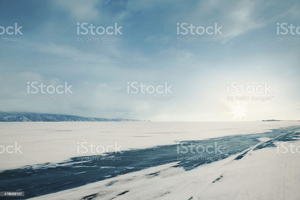 Winter ice road stock photo