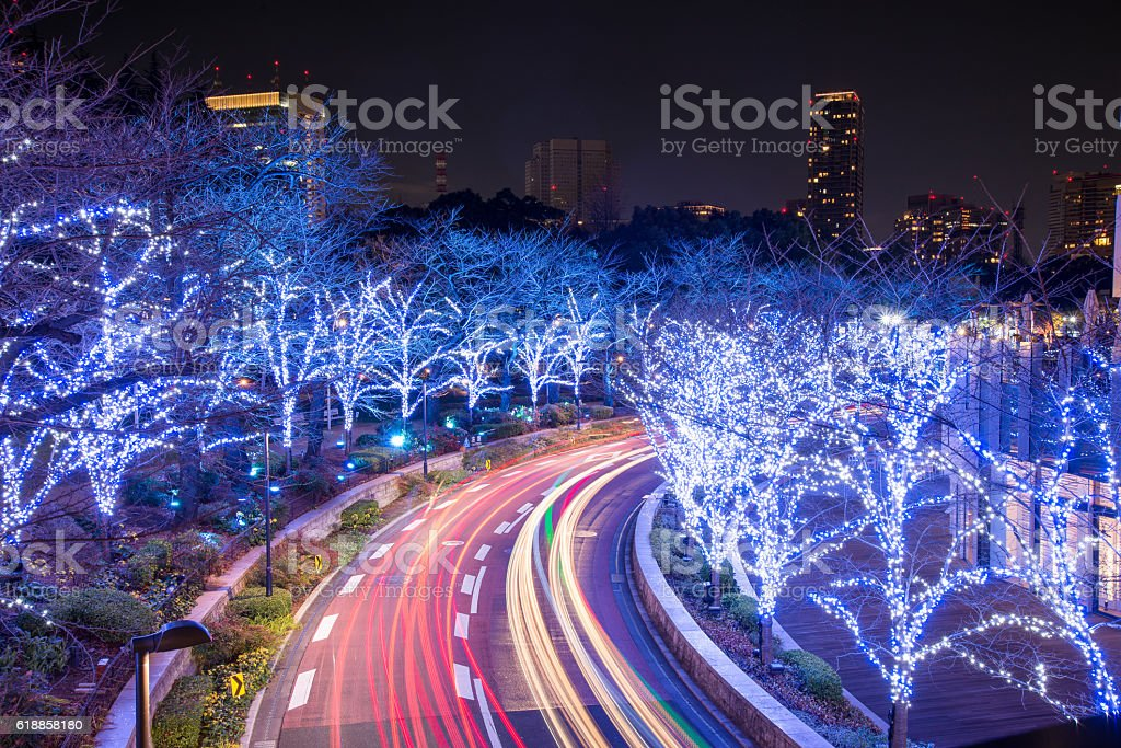 Winter Illumination in Tokyo near Roppongi Hills stock photo