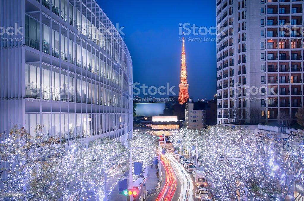 Winter Illumination in Tokyo seen from Roppongi Hills stock photo
