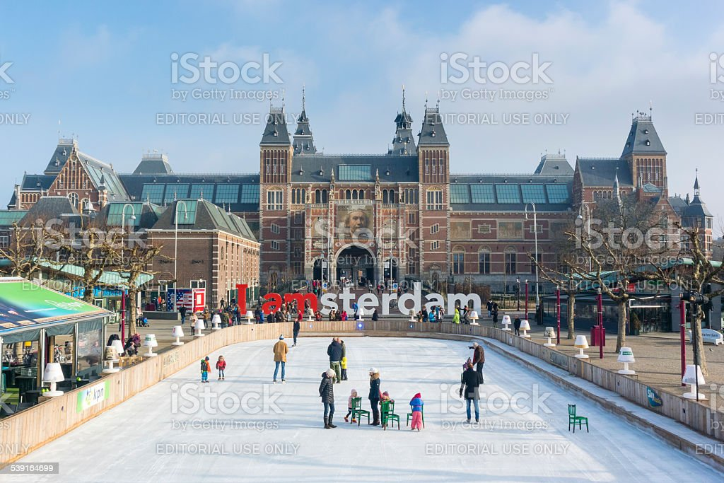Winter in Amsterdam at the Rijksmuseum stock photo