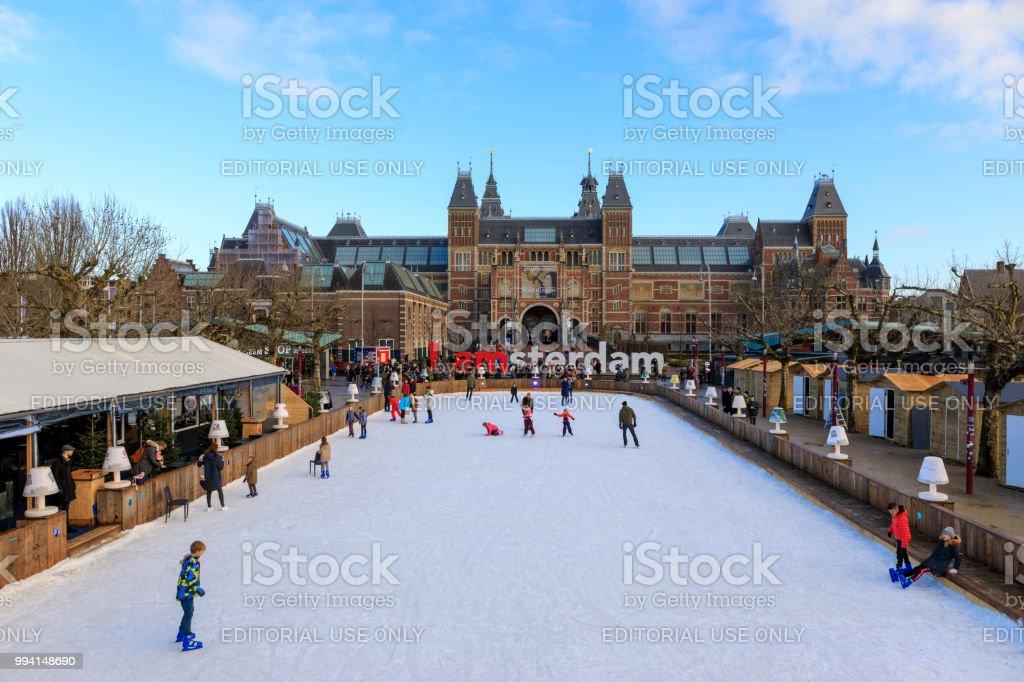 Winter in Amsterdam at the Rijksmuseum stock photo