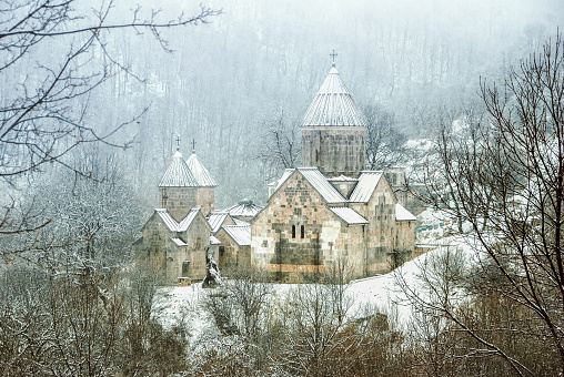 winter in Armenia , Haghartsin Monastery  in winter
