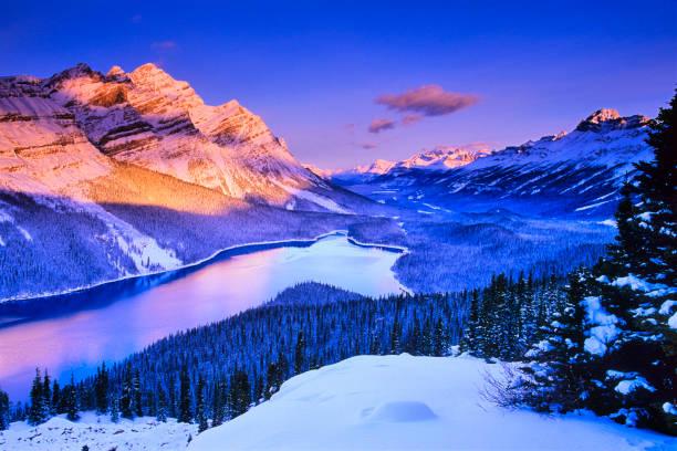 winter in banff national park in alberta canada - lake louise stockfoto's en -beelden