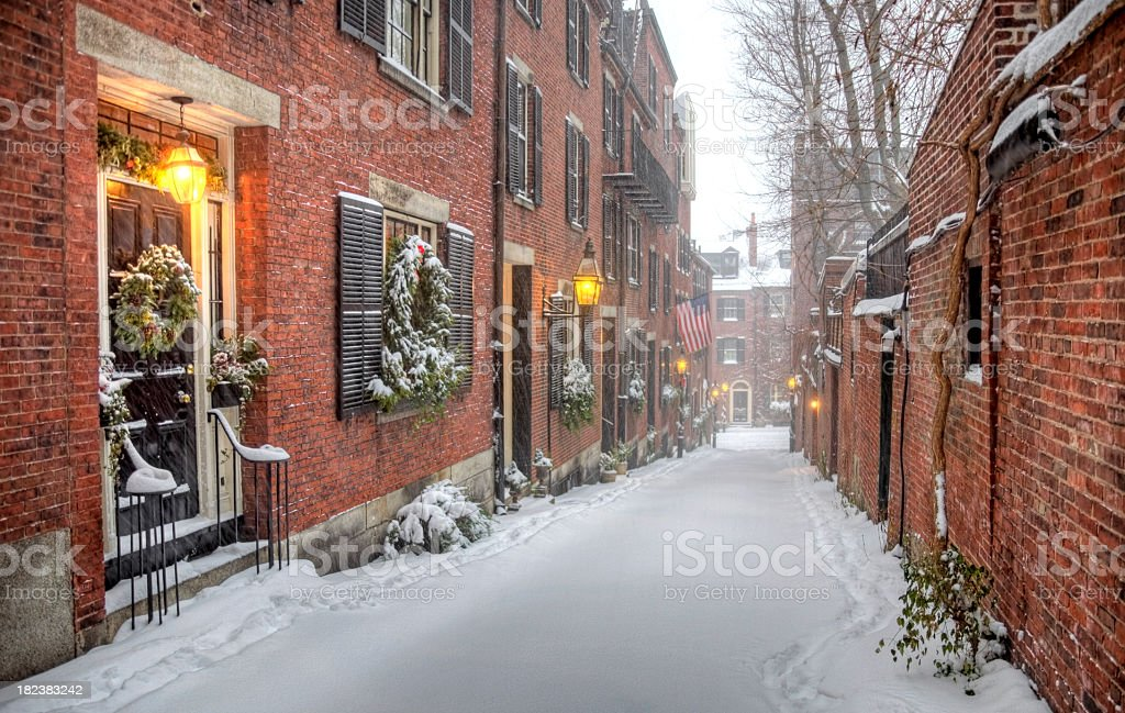 Winter in Beacon Hill royalty-free stock photo