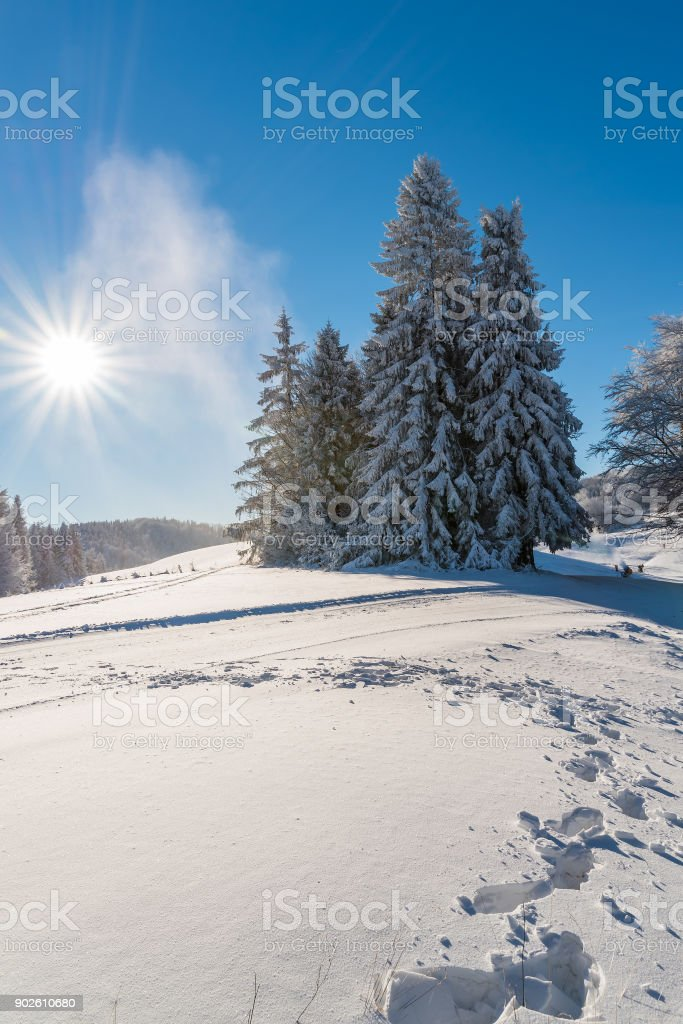 Winter in Beskid Sadecki Mountains on sunny day, Poland stock photo