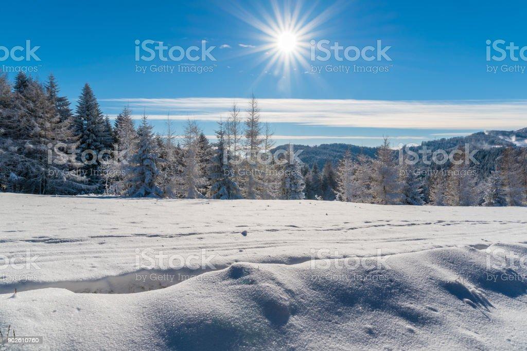 Winter in Beskid Sadecki Mountains on sunny day, Poland stock photo