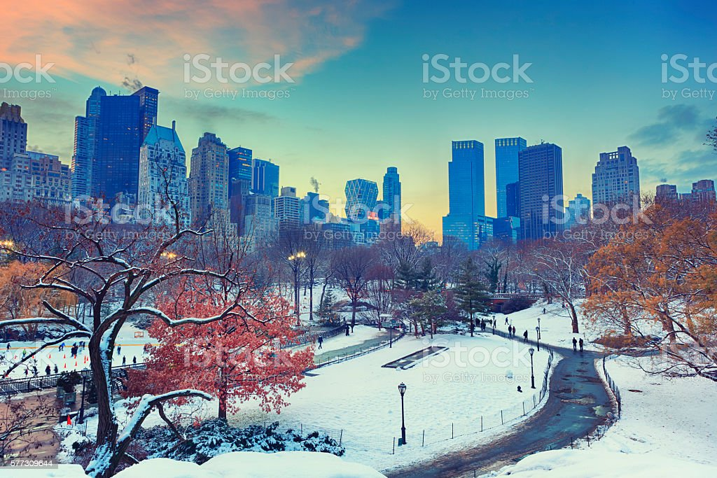 Winter in Central Park NYC stock photo