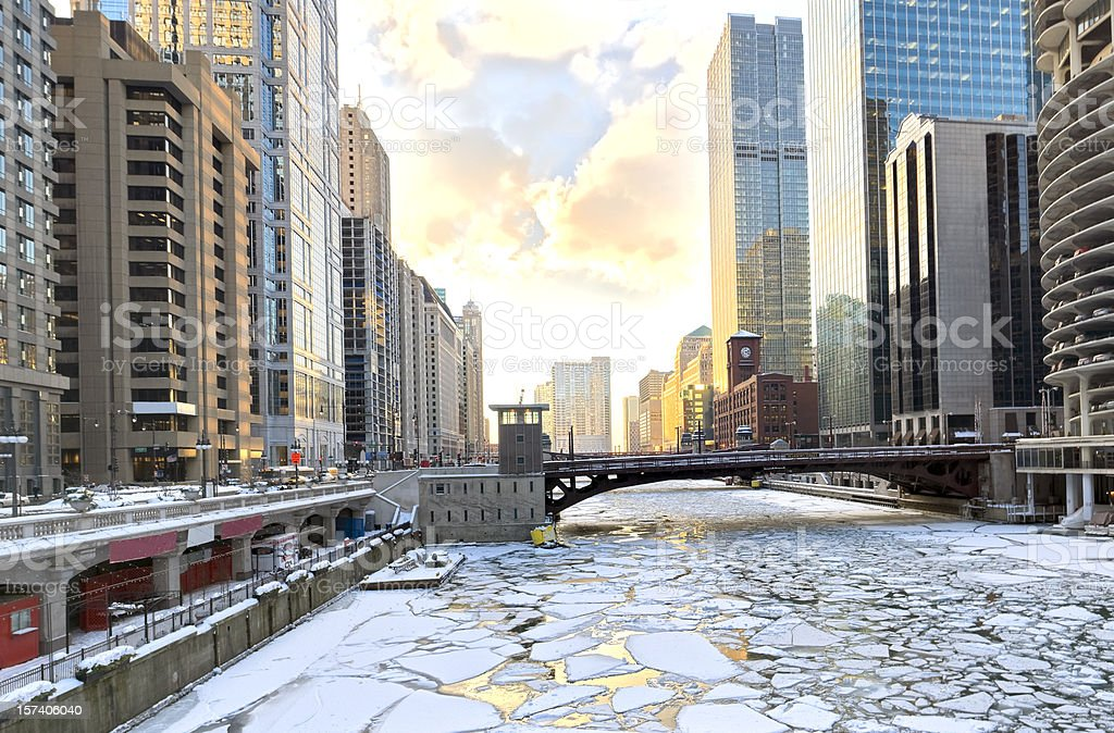 Winter in Chicago at Sunset (XXXL) royalty-free stock photo