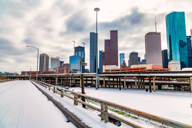 Winter in Downtown Houston stock photo