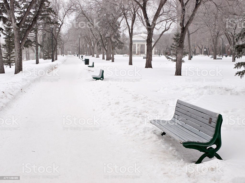 Winter in Downtown Saskatoon Park royalty-free stock photo