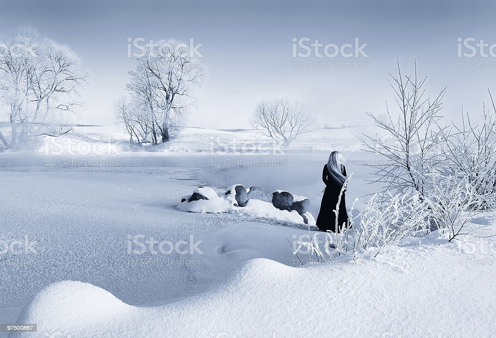 Winter in Drozdy, B/W royalty-free stock photo