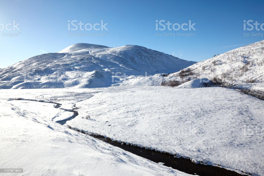 Winter in Glen Avon, Cairngorms mountains, Scotland, UK stock photo