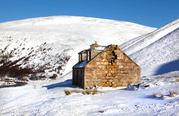Winter in Glen Avon, Cairngorms mountains, Scotland, UK stock photo