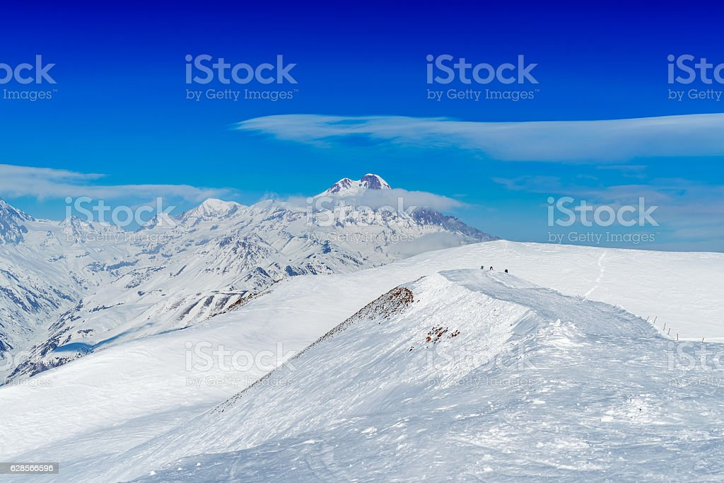 Winter in Greater Caucasus Mountains. Georgia (country). stock photo