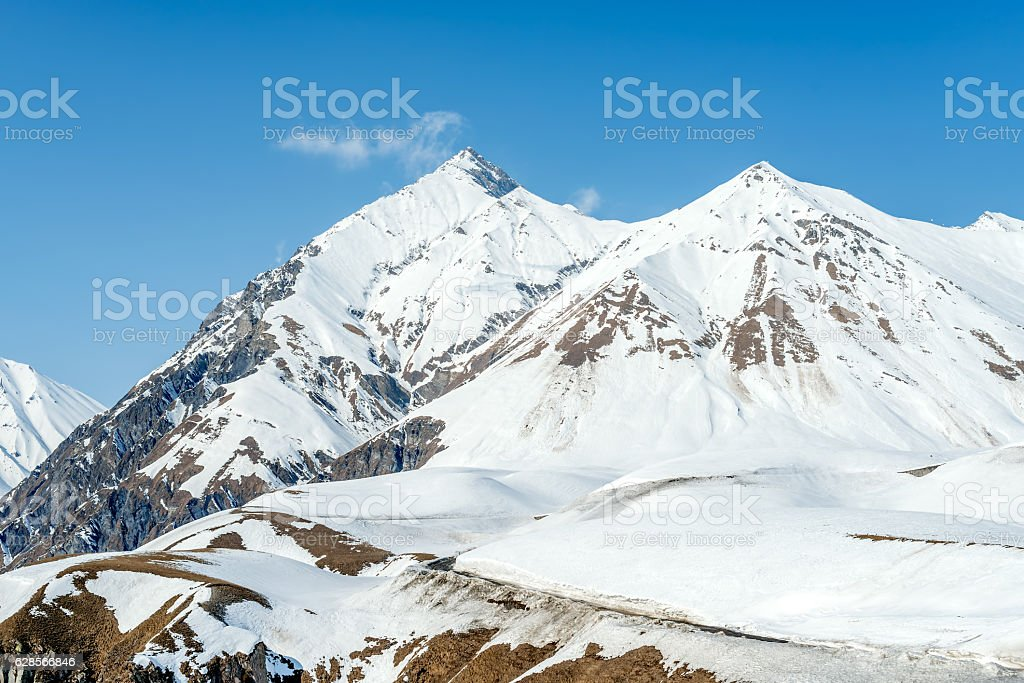 Winter in Greater Caucasus Mountains. stock photo