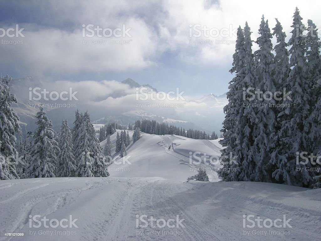 winter in gstaad stock photo
