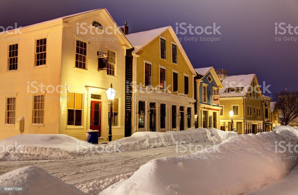 Winter in Historic New Bedford Massachusetts stock photo