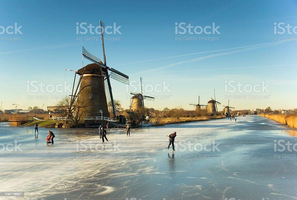Winter in Kinderdijk stock photo