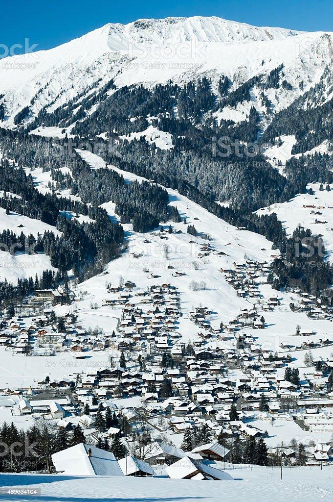 Winter in Lenk, Switzerland stock photo