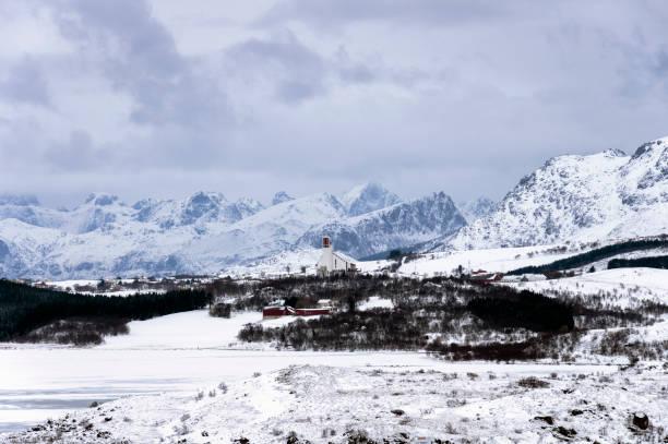 Lofoten kış stok fotoğrafı