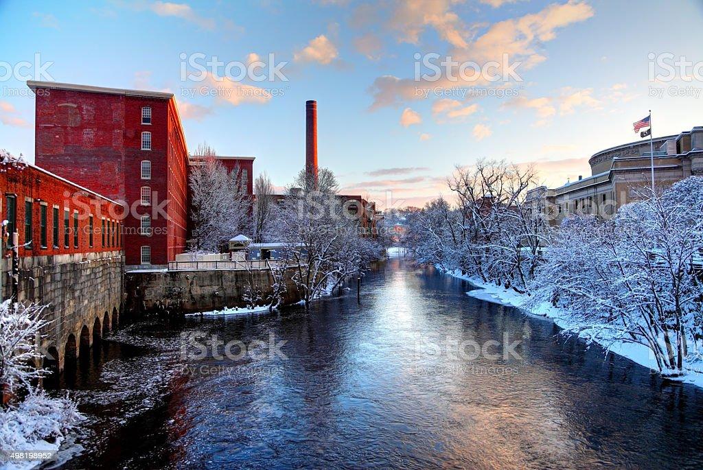 Winter in Lowell Massachusetts stock photo