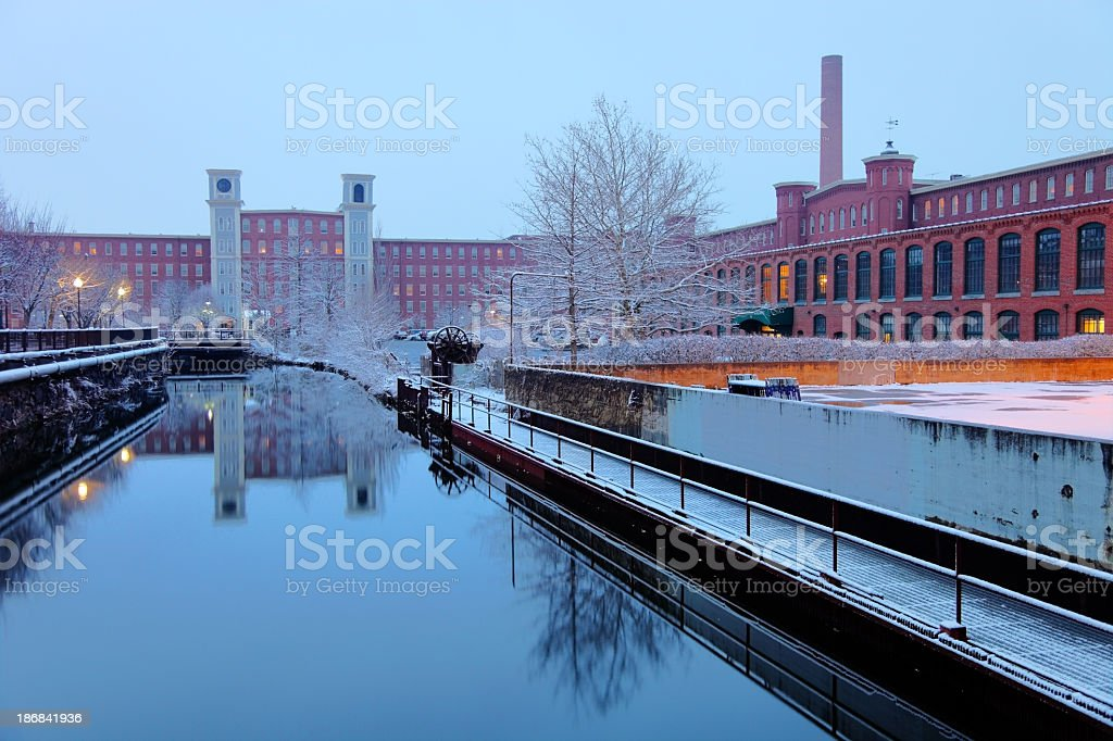 Winter in Lowell stock photo