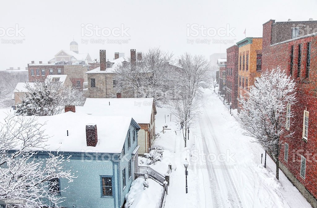 Winter in New Bedford, Massachusetts stock photo