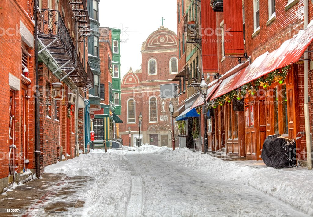 Winter in North End, Boston royalty-free stock photo